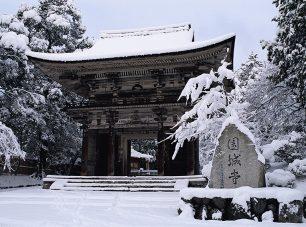 雪化粧の美しい仁王門